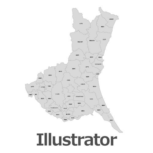 Illustrator茨城県地図